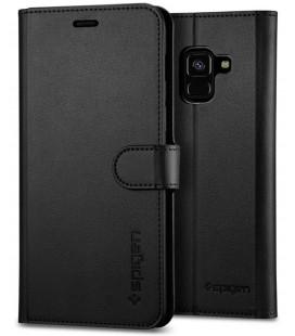 "Juodas atverčiamas dėklas Samsung Galaxy A8 2018 telefonui ""Spigen Wallet S"""