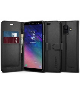 "Juodas atverčiamas dėklas Samsung Galaxy A6 2018 telefonui ""Spigen Wallet S"""