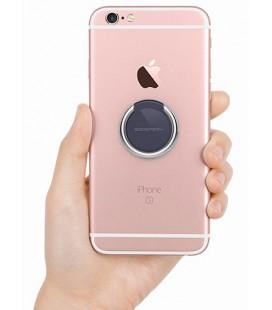 """Juodas/sidabrinis universalus telefono laikiklis ant piršto - žiedas """"Mercury Ring"""""""