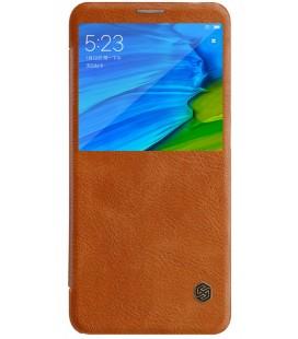 """Odinis rudas atverčiamas dėklas Xiaomi Redmi Note 5 telefonui """"Nillkin Qin S-View"""""""