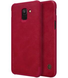 """Odinis raudonas atverčiamas dėklas Samsung Galaxy J6 2018 telefonui """"Nillkin Qin"""""""