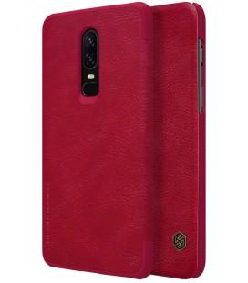 """Odinis raudonas atverčiamas dėklas Oneplus 6 telefonui """"Nillkin Qin"""""""