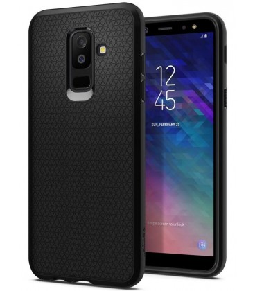 """Juodas dėklas Samsung Galaxy A6 Plus 2018 telefonui """"Spigen Liquid Air"""""""