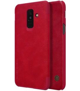 """Odinis raudonas atverčiamas dėklas Samsung Galaxy A6 Plus 2018 telefonui """"Nillkin Qin"""""""