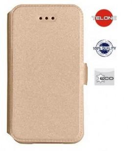 """Auksinės spalvos atverčiamas dėklas Samsung Galaxy A6 Plus 2018 telefonui """"Telone Book Pocket"""""""