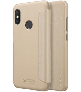 """Atverčiamas auksinės spalvos dėklas Xiaomi Mi A2 Lite telefonui """"Nillkin Sparkle S-View"""""""
