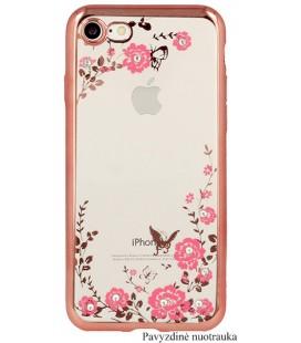 """Rausvai auksinės spalvos dėklas Samsung Galaxy A6 Plus 2018 telefonui """"Flower"""""""