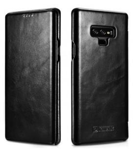 """Juodas odinis atverčiamas dėklas Samsung Galaxy Note 9 telefonui """"iCarer Vintage"""""""