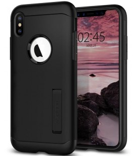 "Juodas dėklas Apple iPhone X/XS telefonui ""Spigen Slim Armor"""