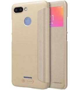 """Atverčiamas auksinės spalvos dėklas Xiaomi Redmi 6 telefonui """"Nillkin Sparkle S-View"""""""