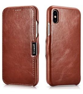 """Rudas odinis atverčiamas dėklas Apple iPhone XS Max telefonui """"iCarer Vintage"""""""
