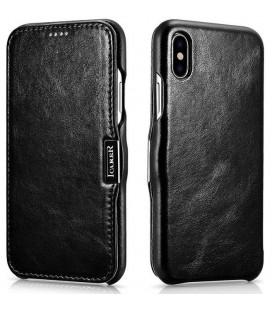 """Juodas odinis atverčiamas dėklas Apple iPhone XS Max telefonui """"iCarer Vintage"""""""