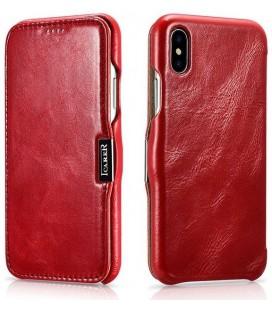 """Raudonas odinis atverčiamas dėklas Apple iPhone XS Max telefonui """"iCarer Vintage"""""""