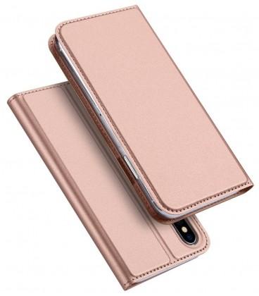 """Rausvai auksinės spalvos atverčiamas dėklas Apple iPhone X/XS telefonui """"Dux Ducis Skin"""""""