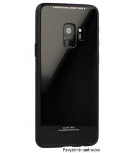 """Juodas dėklas Samsung Galaxy A8 2018 telefonui """"Glass Case"""""""