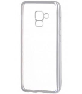 """Sidabrinės spalvos silikoninis dėklas Samsung Galaxy A8 2018 telefonui """"Glossy"""""""