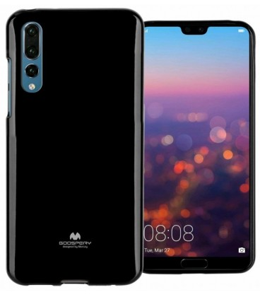 """Juodas silikoninis dėklas Huawei P20 Pro telefonui """"Mercury Goospery Pearl Jelly Case"""""""