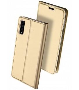 """Auksinės spalvos atverčiamas dėklas Samsung Galaxy A7 2018 telefonui """"Dux Ducis Skin"""""""