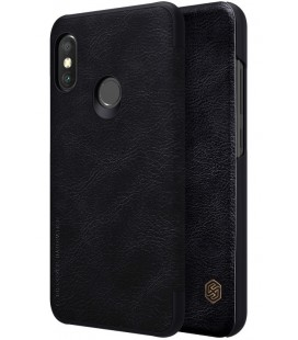 """Odinis juodas atverčiamas dėklas Xiaomi Redmi Note 6 Pro telefonui """"Nillkin Qin"""""""