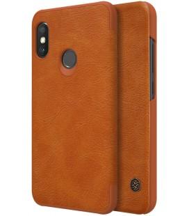 """Odinis rudas atverčiamas dėklas Xiaomi Redmi Note 6 Pro telefonui """"Nillkin Qin S-View"""""""