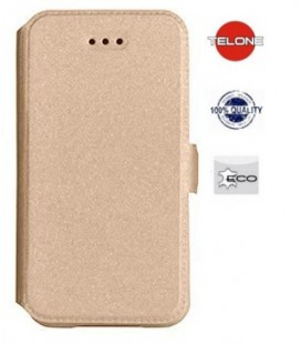 """Auksinės spalvos atverčiamas dėklas Nokia 5.1 telefonui """"Telone Book Pocket"""""""