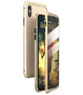 """Magnetinis metalinis auksinės spalvos dėklas Apple iPhone XS Max telefonui """"Luphie Full Bicolor Magnetic"""""""