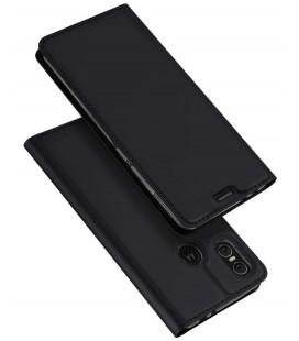 """Juodas atverčiamas dėklas Motorola Moto One telefonui """"Dux Ducis Skin"""""""