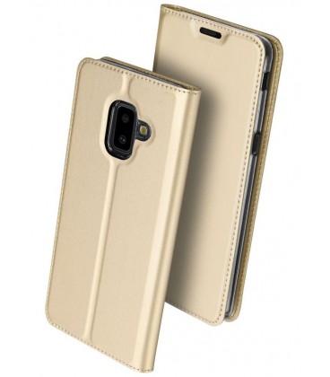 """Auksinės spalvos atverčiamas dėklas Samsung Galaxy J6 Plus 2018 telefonui """"Dux Ducis Skin"""""""