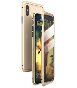 "Magnetinis metalinis auksinės spalvos dėklas Apple iPhone XR telefonui ""Luphie Full Bicolor Magnetic"""