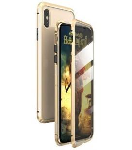 """Magnetinis metalinis auksinės spalvos dėklas Apple iPhone X/XS telefonui """"Luphie Full Bicolor Magnetic"""""""
