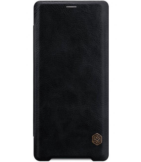 """Odinis juodas atverčiamas dėklas Sony Xperia XZ3 telefonui """"Nillkin Qin"""""""