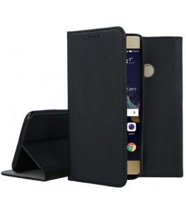 """Juodas atverčiamas dėklas Huawei P9 Lite telefonui """"Smart Book Magnet"""""""