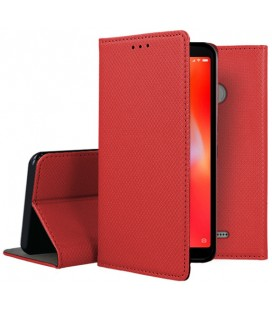 """Raudonas atverčiamas dėklas Xiaomi Redmi 6 telefonui """"Smart Book Magnet"""""""