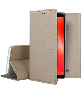 """Auksinės spalvos atverčiamas dėklas Xiaomi Redmi 6 telefonui """"Smart Book Magnet"""""""