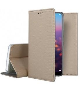 """Auksinės spalvos atverčiamas dėklas Huawei P20 telefonui """"Smart Book Magnet"""""""