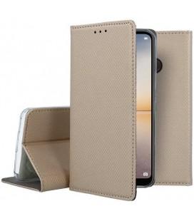 """Auksinės spalvos atverčiamas dėklas Huawei P20 Lite telefonui """"Smart Book Magnet"""""""