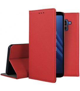 """Raudonas atverčiamas dėklas Samsung Galaxy A8 2018 telefonui """"Smart Book Magnet"""""""