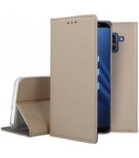 """Auksinės spalvos atverčiamas dėklas Samsung Galaxy A8 2018 telefonui """"Smart Book Magnet"""""""