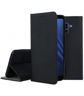"""Juodas atverčiamas dėklas Samsung Galaxy A8 2018 telefonui """"Smart Book Magnet"""""""