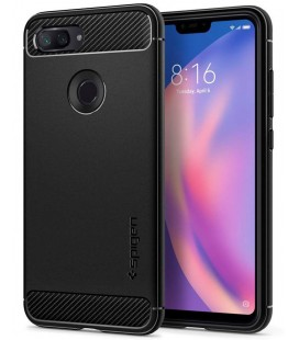 "Juodas dėklas Xiaomi Mi8 Lite telefonui ""Spigen Rugged Armor"""