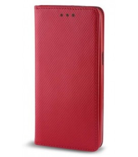 """Raudonas atverčiamas dėklas Samsung Galaxy A6 Plus 2018 telefonui """"Smart Book Magnet"""""""
