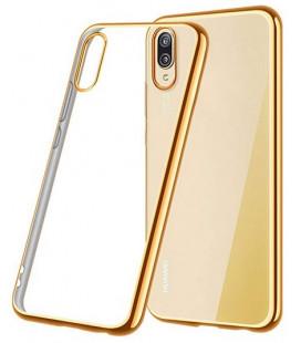 """Auksinės spalvos silikoninis dėklas Huawei P20 telefonui """"Glossy"""""""