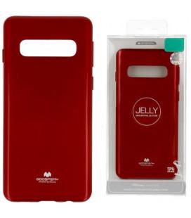 """Raudonas silikoninis dėklas Samsung Galaxy S10 Plus telefonui """"Mercury Goospery Pearl Jelly Case"""""""