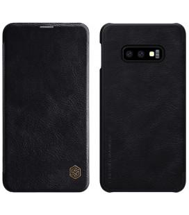 """Odinis juodas atverčiamas dėklas Samsung Galaxy S10E telefonui """"Nillkin Qin"""""""