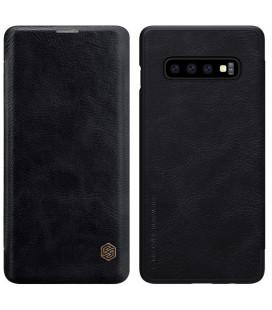 """Odinis juodas atverčiamas dėklas Samsung Galaxy S10 telefonui """"Nillkin Qin"""""""