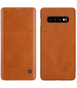 """Odinis rudas atverčiamas dėklas Samsung Galaxy S10 telefonui """"Nillkin Qin"""""""