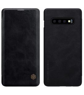 """Odinis juodas atverčiamas dėklas Samsung Galaxy S10 Plus telefonui """"Nillkin Qin"""""""