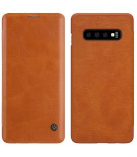 """Odinis rudas atverčiamas dėklas Samsung Galaxy S10 Plus telefonui """"Nillkin Qin"""""""