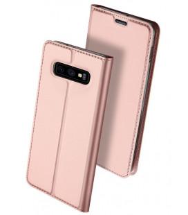 """Rausvai auksinės spalvos atverčiamas dėklas Samsung Galaxy S10E telefonui """"Dux Ducis Skin"""""""