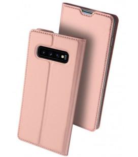 """Rausvai auksinės spalvos atverčiamas dėklas Samsung Galaxy S10 telefonui """"Dux Ducis Skin"""""""
